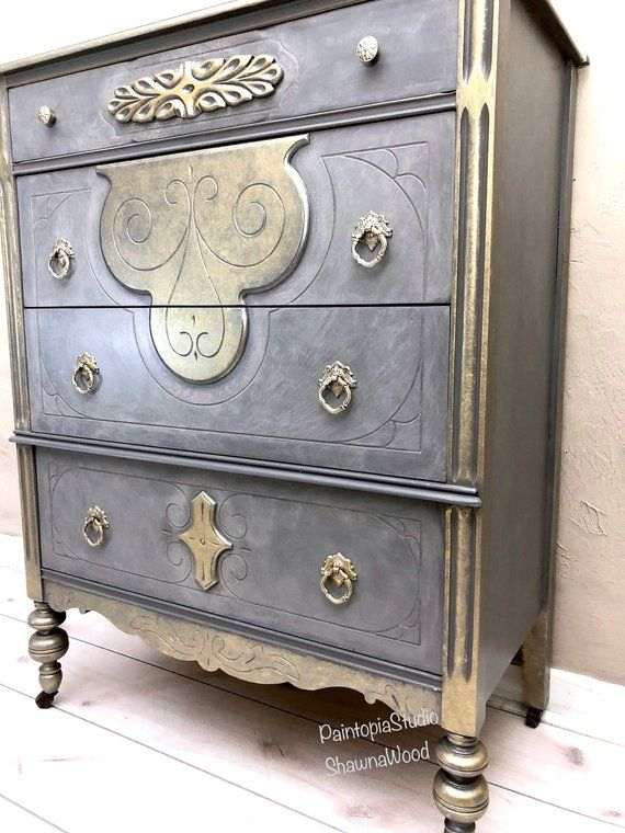 Best Vintage Gray Dresser Gray Gold Chest Hand Painted 640 x 480