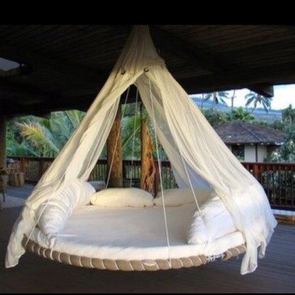recycled trampoline. Looks better than a hammock!