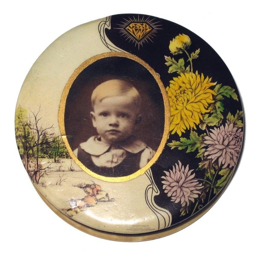 Old Vintage CELLULOID Pocket Mirror COMPACT with Boys Portrait