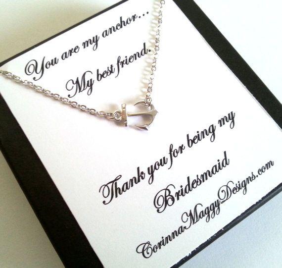 Bridesmaid gift Sideways Anchor Necklace Wedding Gift Bridal