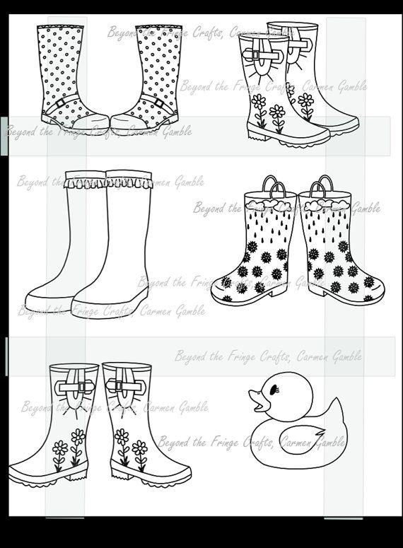 Digital Stamp Rubber Boots Medley by carmensplace on Etsy