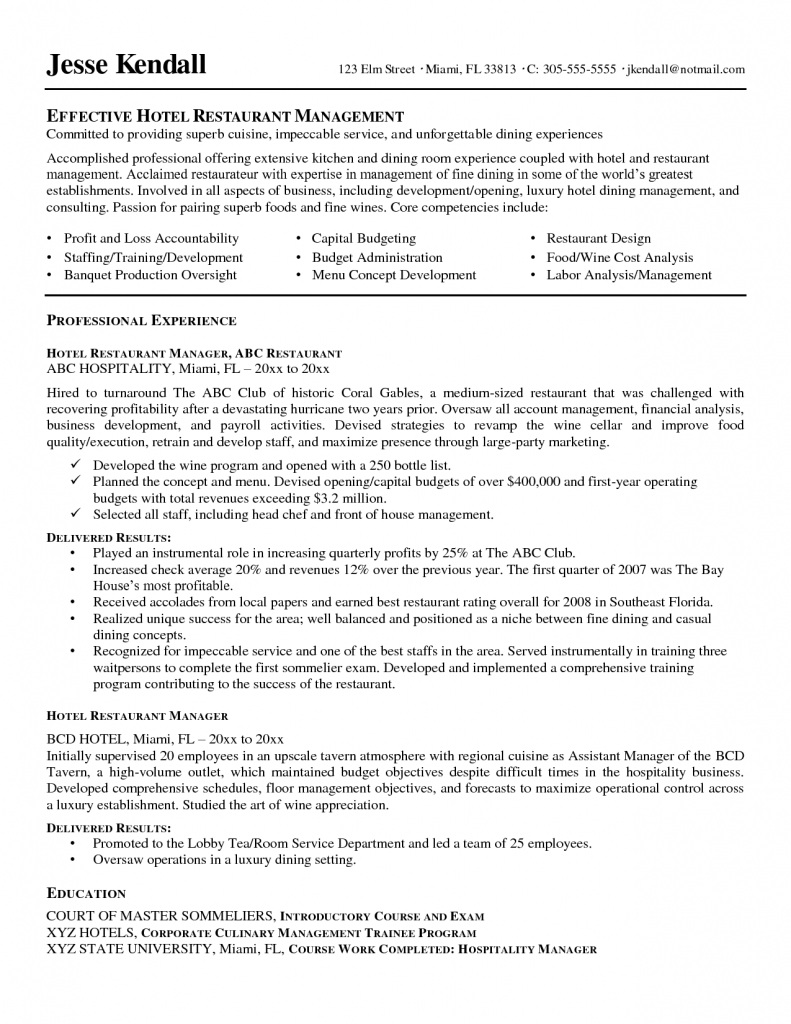 Restaurant General Manager Resume Resume Examples Logistics Specialist Transport And Production