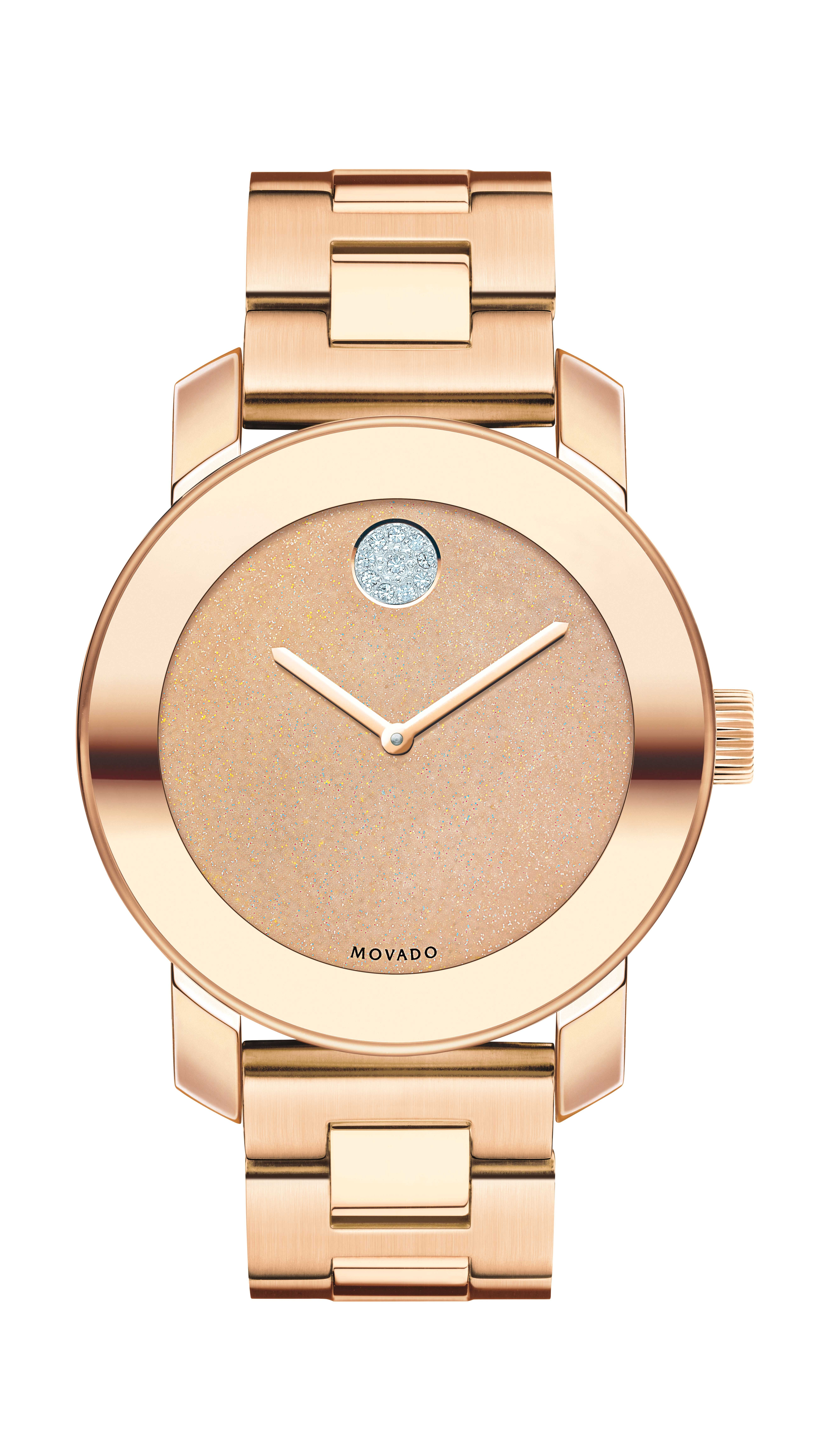 50fe3159c Movado Bold - Mid-size Movado BOLD watch, 36 mm rose gold ion-plated  stainless steel case with mirror-finish bezel, bronze glitter dial with  clear ...