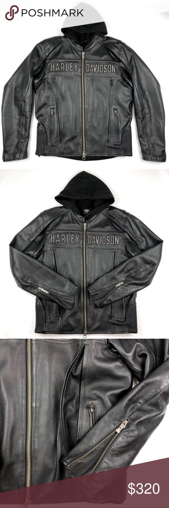 HARLEY DAVIDSON Men Genuine Leather Riding Jacket Genuine