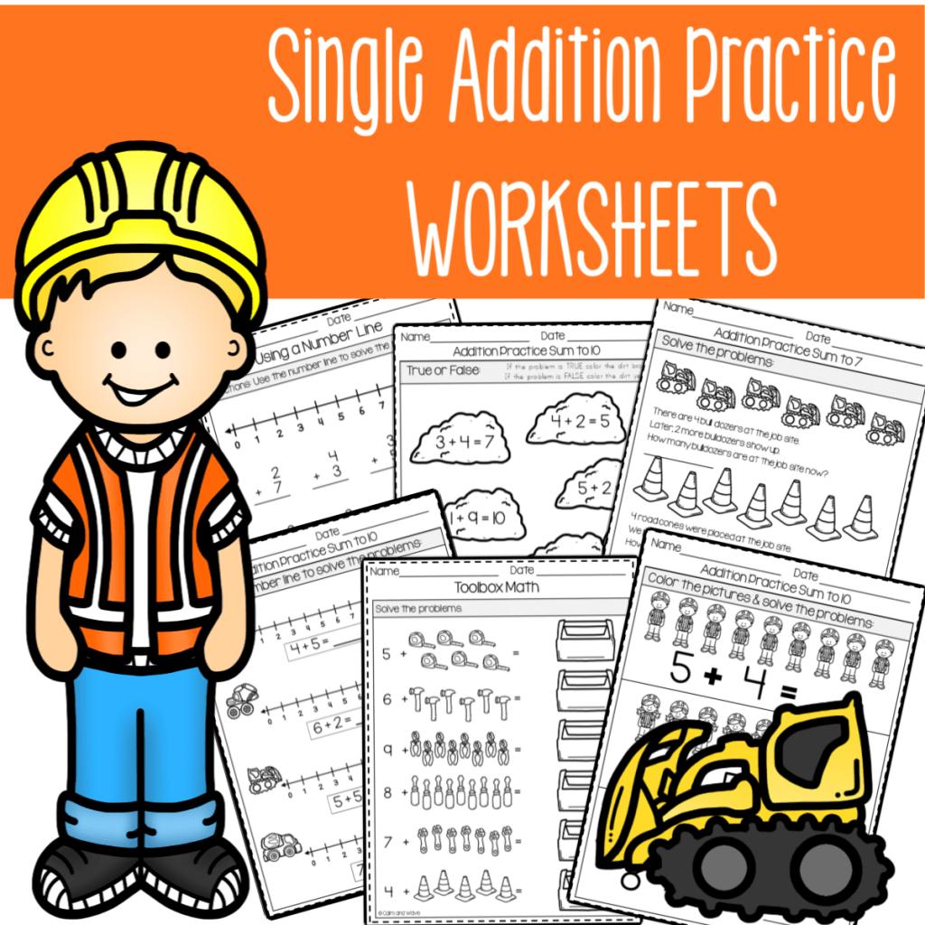 Single Addition Practice Worksheet Printables