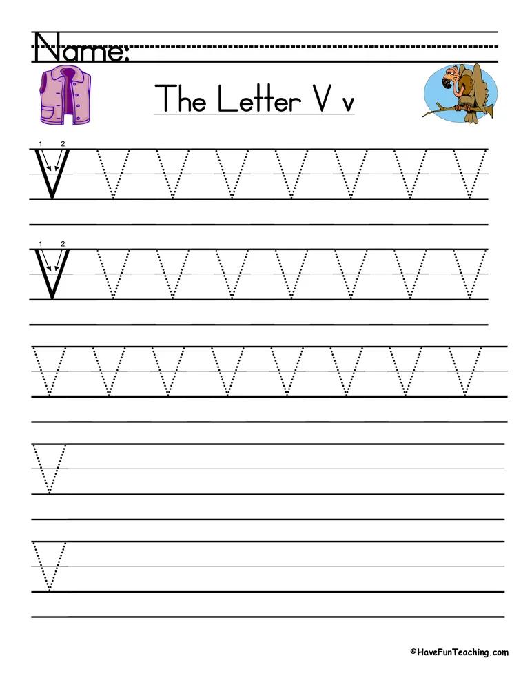 Letter V Handwriting Practice Worksheet Handwriting
