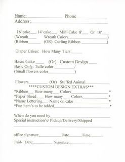 Cake Order Form Template  Affordable Diaper Cakes  Cakes