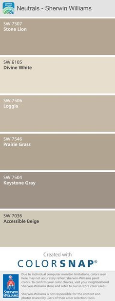 Sherwin Williams Stone Lion   My Interior Color Pallet. Sherwin Williams  Neutrals.