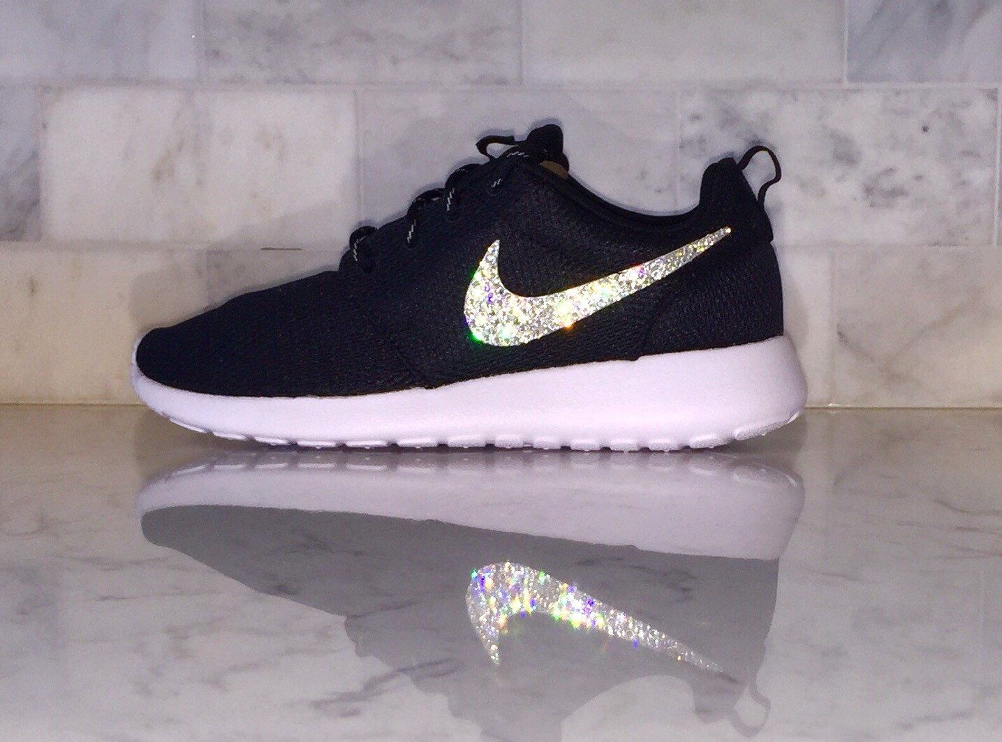 6789d8e2892bbf Crystal Bling Swarovski Black Nike Roshe. Crystal Bling Swarovski Black  Nike Roshe Nike Shoes For Women ...