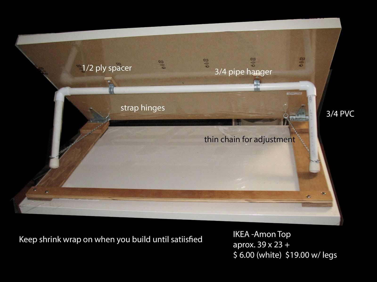 DIY Drafting Table! Iu0027d Maybe Add Some Holes To The Bottom For The Legs Of  The Pvc Pipe So The Table Is More Secure At The Desired Height Rather Than  Just ...