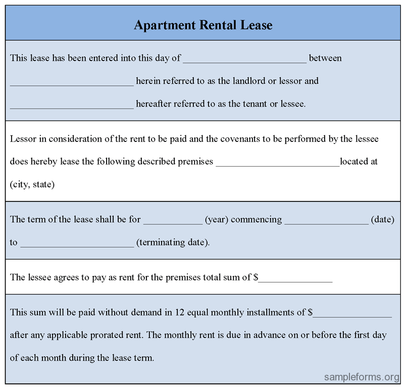 Renting An Apartment: Printable Sample Rental Lease Form Form