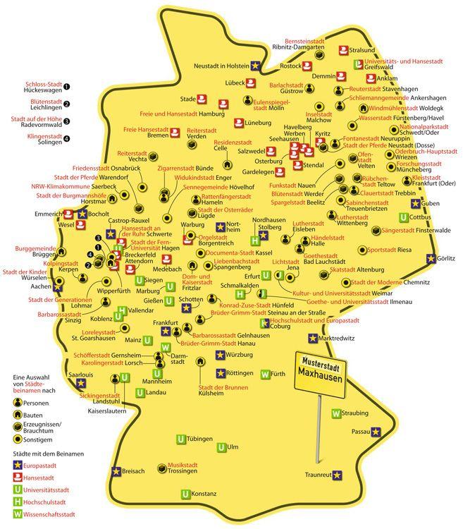 Stadtbeinamen Hansestadt Hamburg Deutschlandkarte Bremerhaven