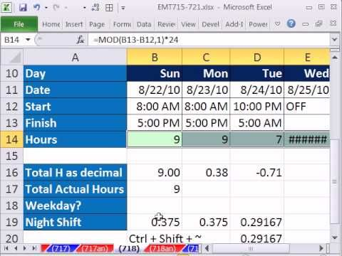 Excel Magic Trick 718 Calculate Hours Worked Day Or Night Shift Subtract Lunch Youtube Excel Night Shift Subtraction