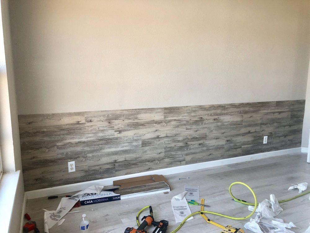 Diy Peel And Stick Vinyl Plank Accent Wall Wall Bedroom Diy Accent Wall Bedroom Flooring On Walls