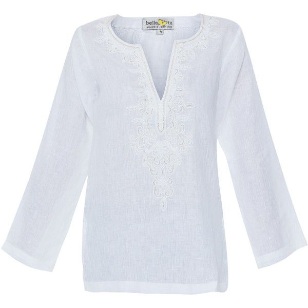 150f40b7422 Bella Tu White Linen Beaded Tunic ($250) ❤ liked on Polyvore featuring  tops, tunics, white, side slit top, white linen tops, long sleeve tunic,  linen tunic ...