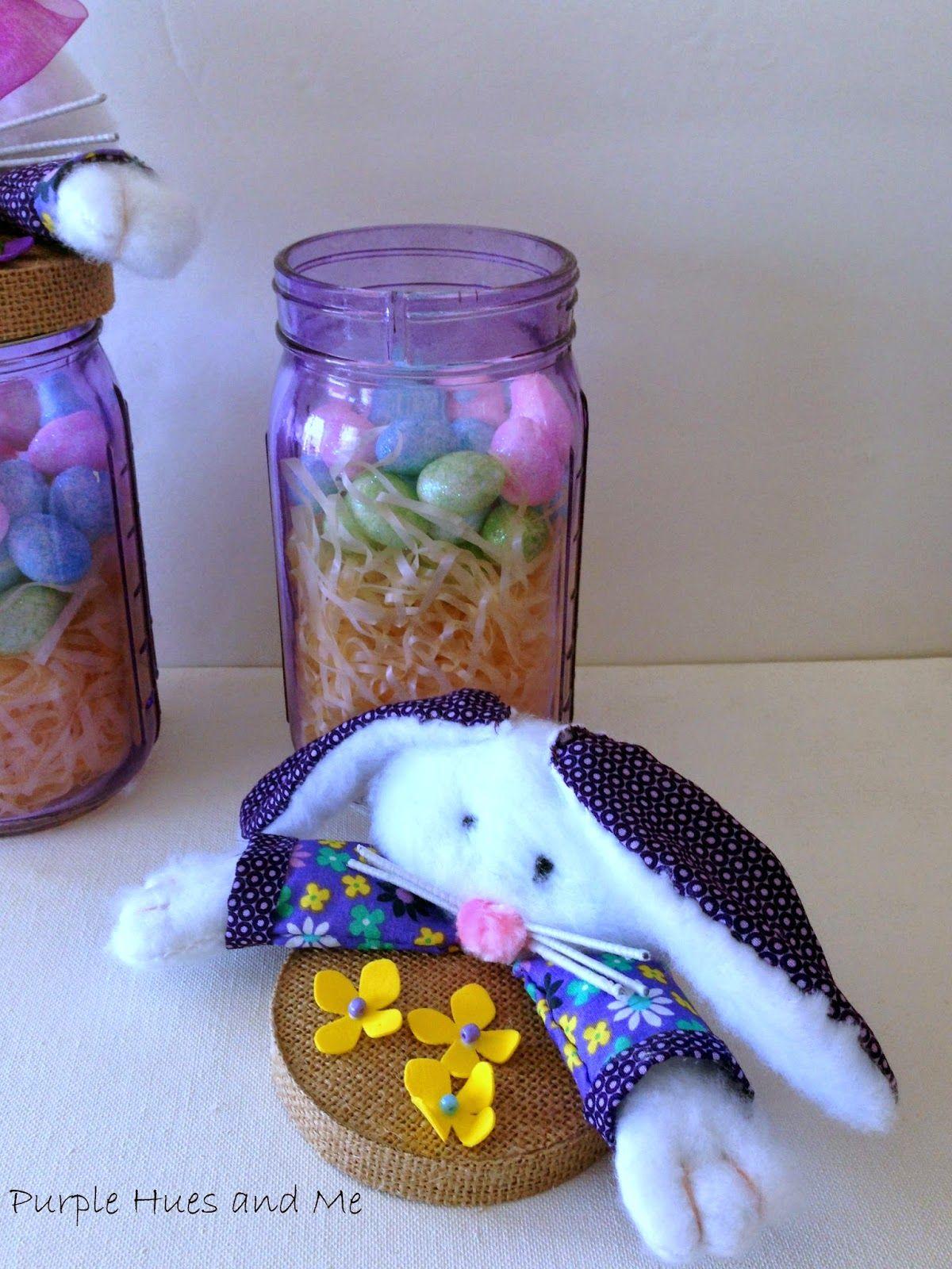 Purple Hues and Me: Easter Bunny Mason Jar Toppers - DIY