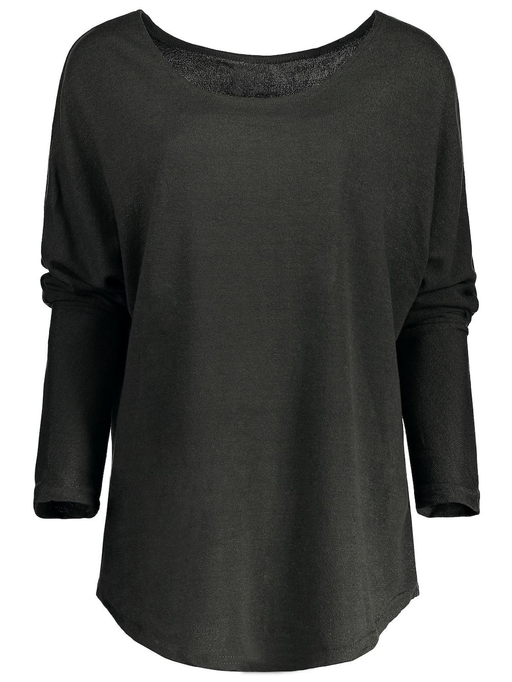 Womenus scoop neck asymmetrical long sleeve sweater scoop neck