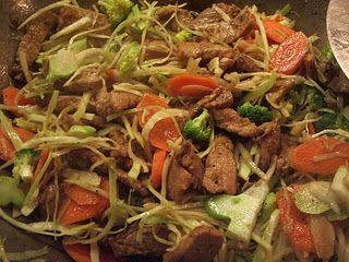 wok med hakket svinekød