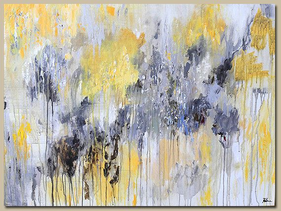 Yellow And Grey Wall Art painting abstract acrylic contemporary art-yellow gray-abstract