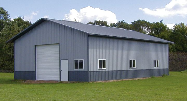 Metal pole barns service door 2 small garage doors for Small metal barns