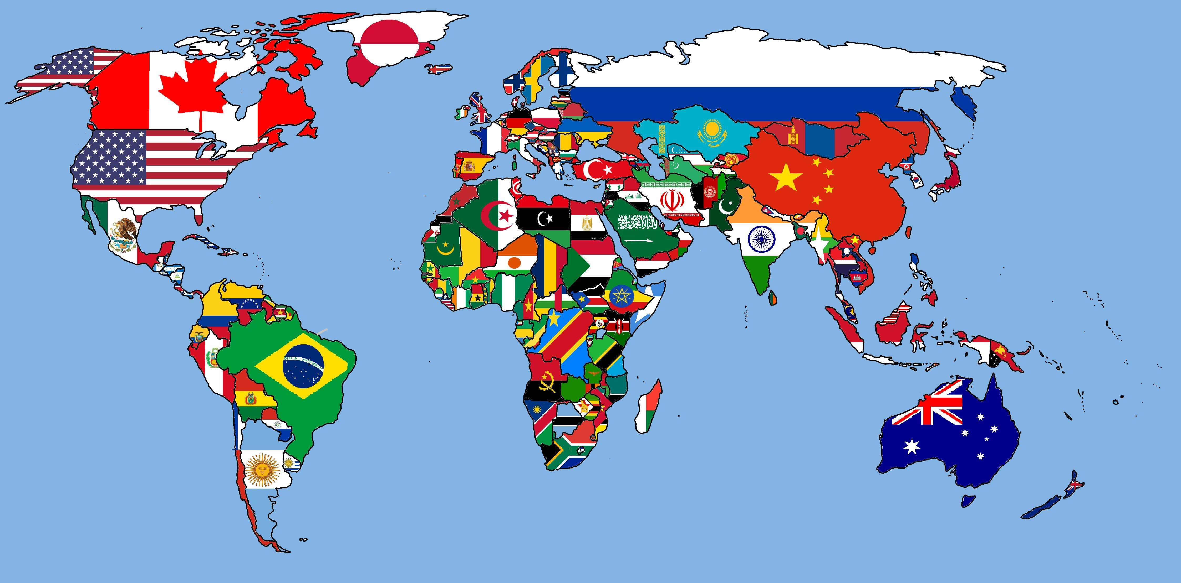World Flags Map 2016 Bandeiras Do Mundo Estudar Espanhol