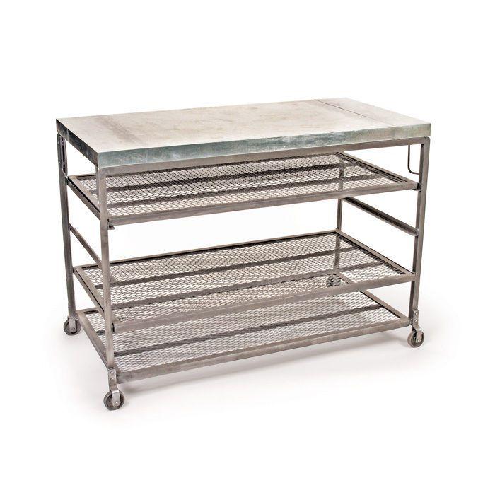 Bakers Rack Table On Wheels Steel Galvanized Hand Cooling Shelves