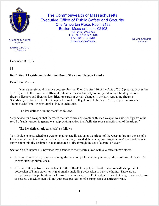 SURRENDER Bump Stocks   Massachusetts To Issue Police Destruction