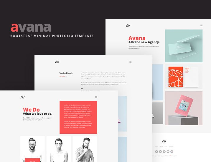 avana minimal portfolio template built with bootstrap freebies blog blog post bootstrap css css3 free html html5 javascript layout portfolio resource
