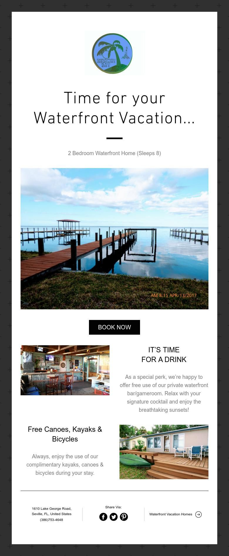 Time for your waterfront vacation holiday rental