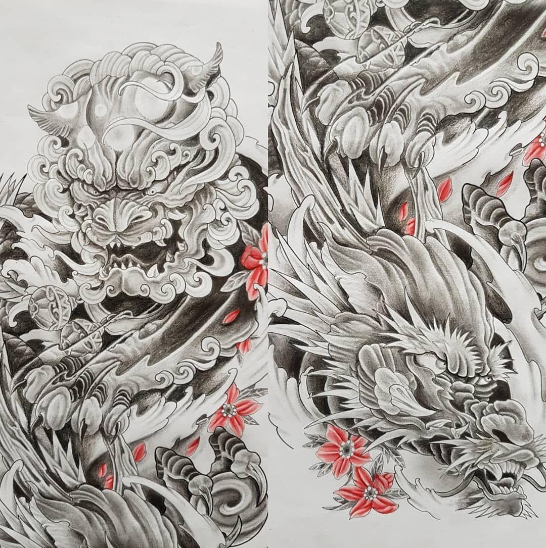 Net Opisaniya Foto Foo Dog Tattoo Design Foo Dog Tattoo Chinese Sleeve Tattoos