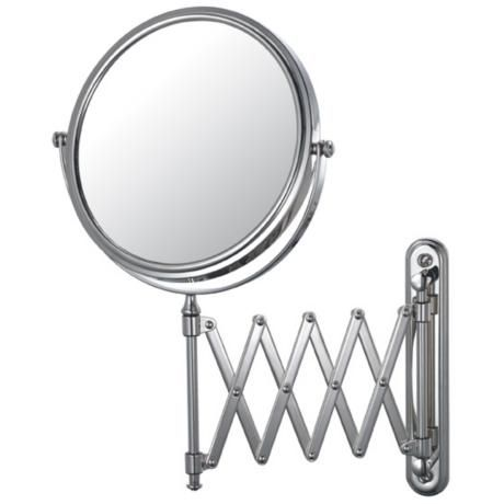 Aptations Chrome Swing Arm Vanity Makeup Mirror 50809 Lamps Plus Wall Mounted Makeup Mirror Mirror Wall Extension Mirror
