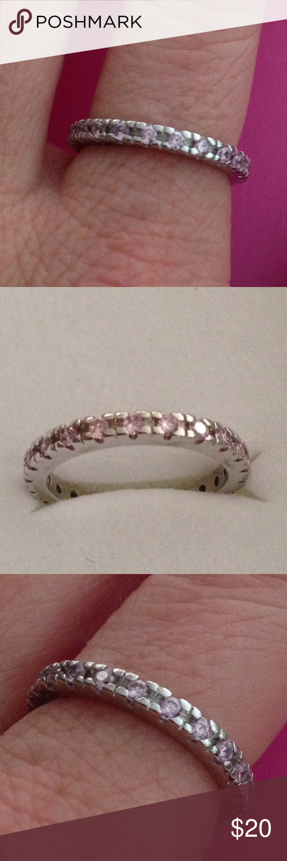💯% 925 Sterling Silver Kunzite sz 8 stacking ring Beautiful band with 💯% Kunzite gem stones, light pink, set in an 💯% 925 Sterling silver setting, great to wear alone or stacking. NWOT 💞🎀 Jewelry Rings