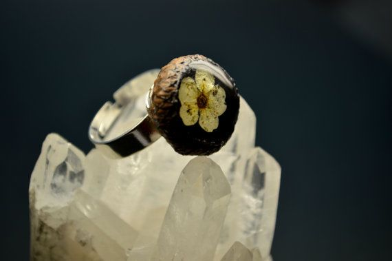 Eco ring with real flower in acorn Resin ring Eco by VITALIAart