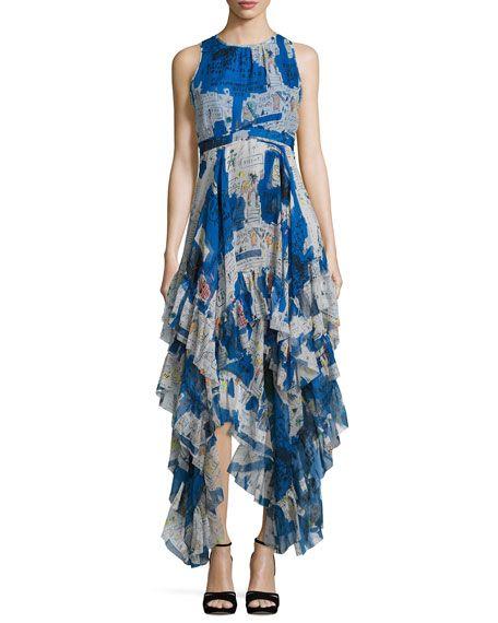 e1d94f2b976 ALICE AND OLIVIA Ilia Printed Tiered-Ruffle Maxi Dress