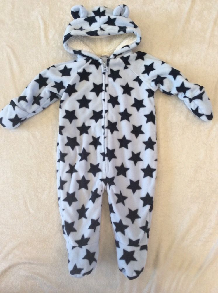 3349117f49d7 Old Navy 3-6 Months Fleece Snowsuit Bunting Blue Stars Cozy Lined ...