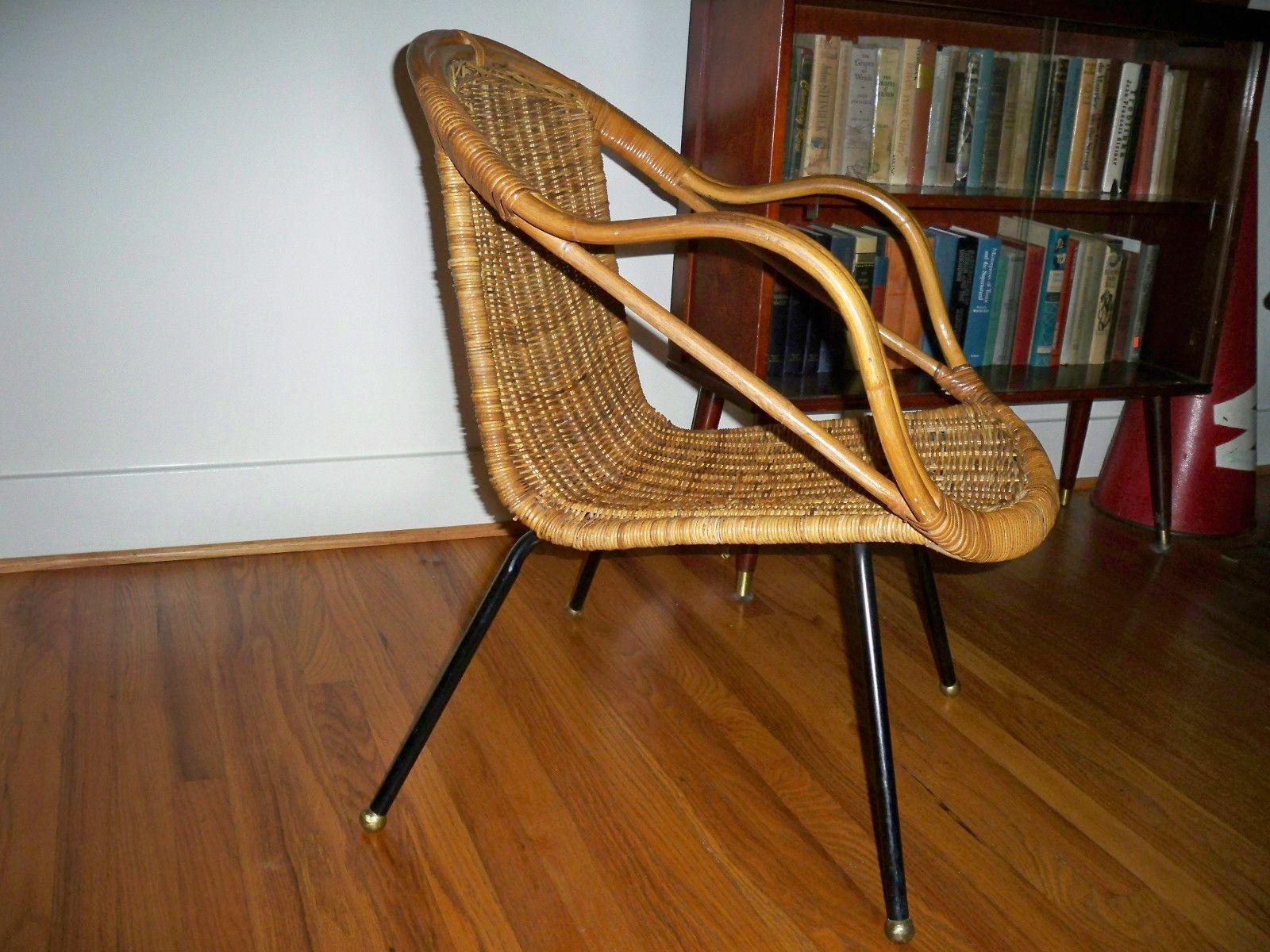 Vintage Retro Mid Century Danish Modern Wicker Rattan