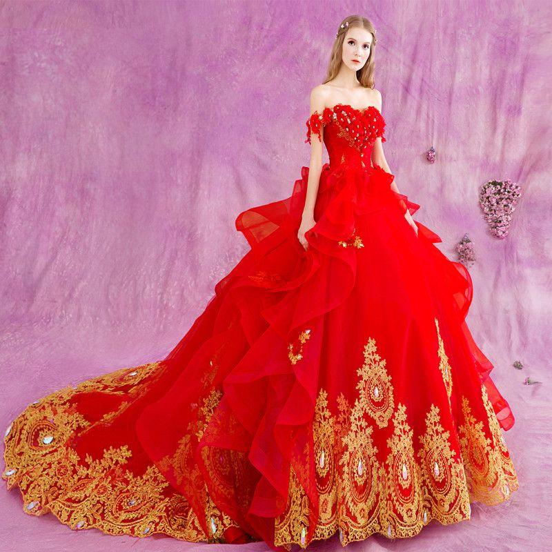 Aliexpress.com: Comprar Sexy Fuera Del Hombro Rojo Vestidos de Novia ...