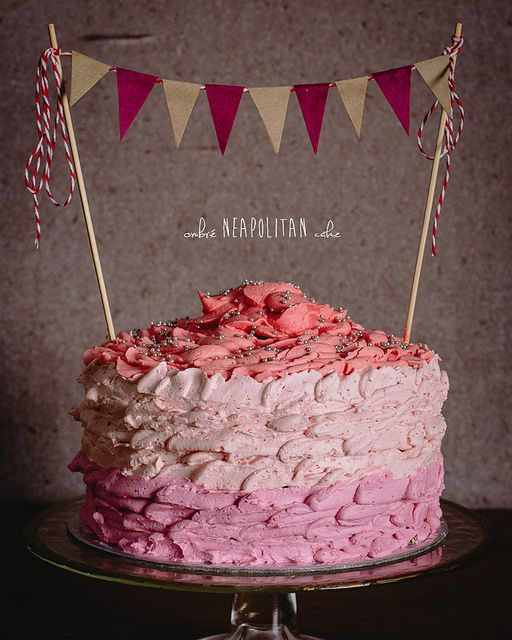 Ombré Neapolitan Cake by alanabread. Well written and funny food blog.
