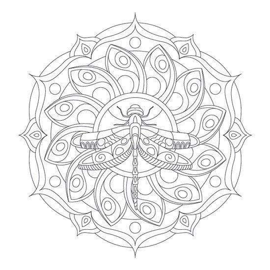 Mandala de Animales Libélula para Imprimir PDF Gratis - Zentangle ...