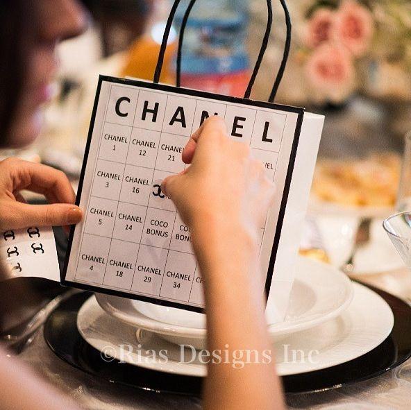 Chanel Bingo!!! Beautiful Chanel themed #bridalshower Anna at Royalton Banquet Hall Woodbridge Ontario  Blush pink and white witg a pop of black