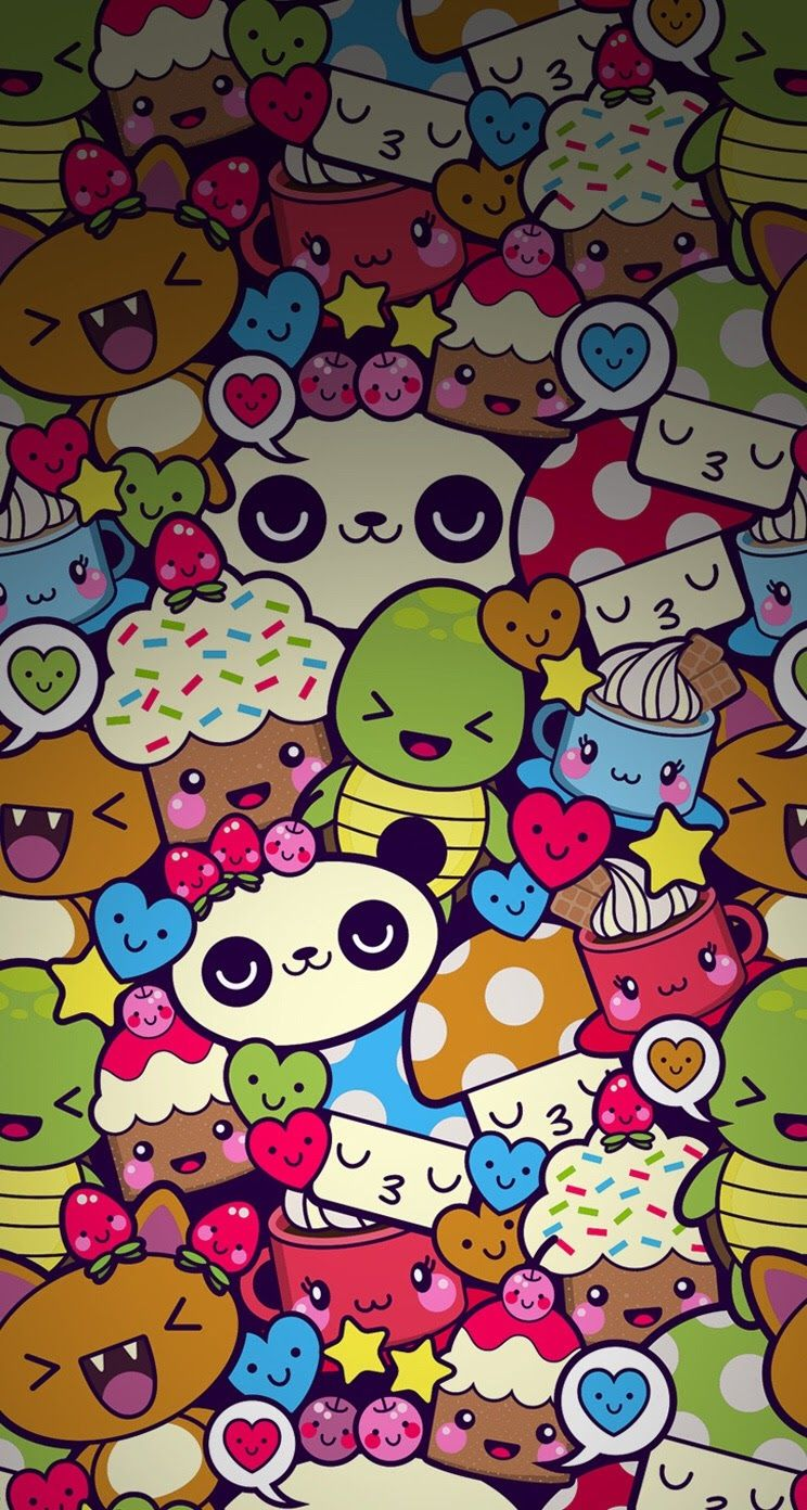Adorable Colorful Cartoon Collage Iphone Wallpaper Background