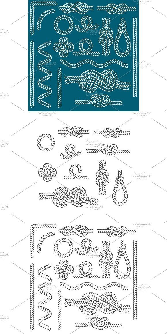 Rope Knots Borders Line Set. Vector (With images) Rope