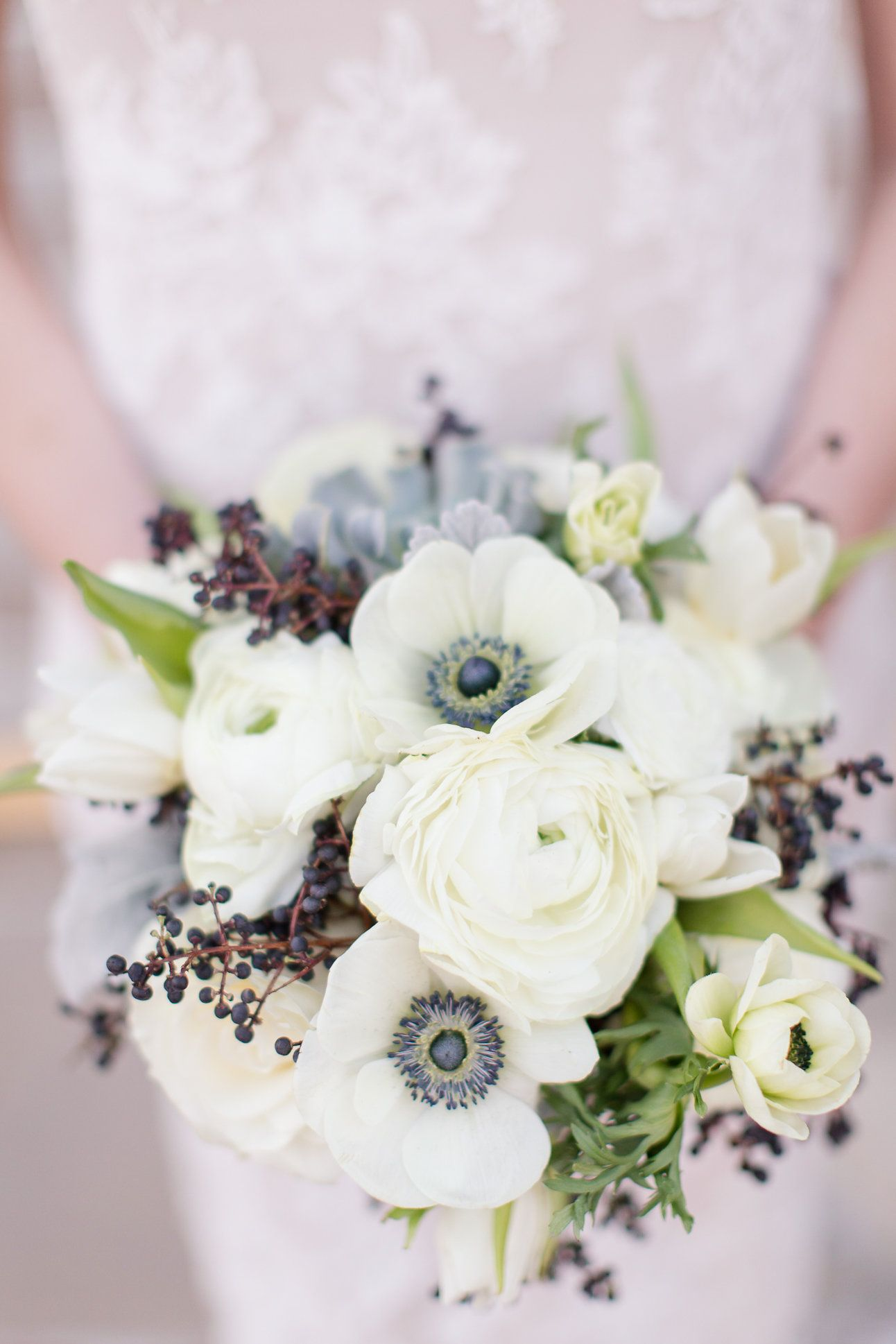 Anemone Ranunculus Succulents And Privet Berry Photo By Jill