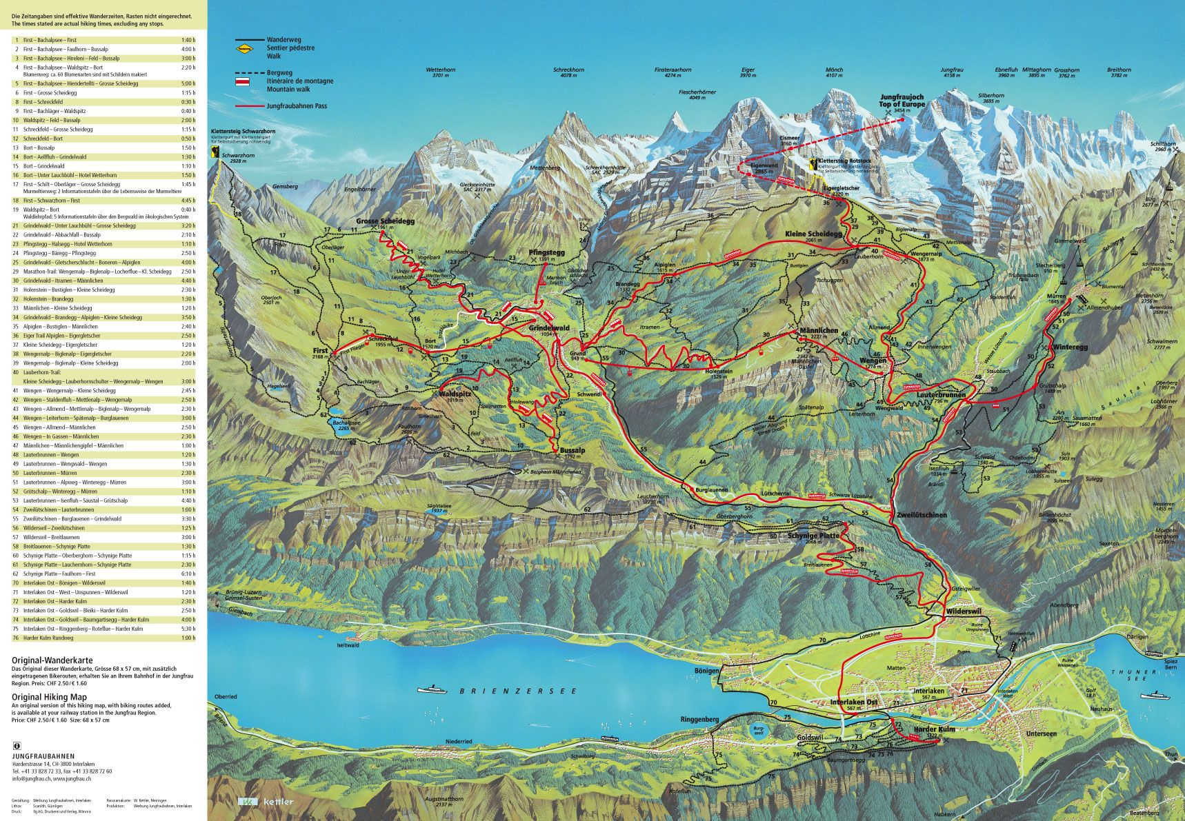 Bernese Oberland Hiking Map | Kleine Scheidegg Bernese ...