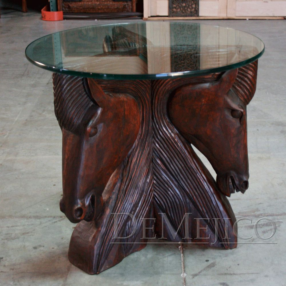 Hand carved horsehead tables rustic and western home decor ideas caballos table base is great for a beautiful ranch home or a horse lover this base is full of charm geotapseo Images