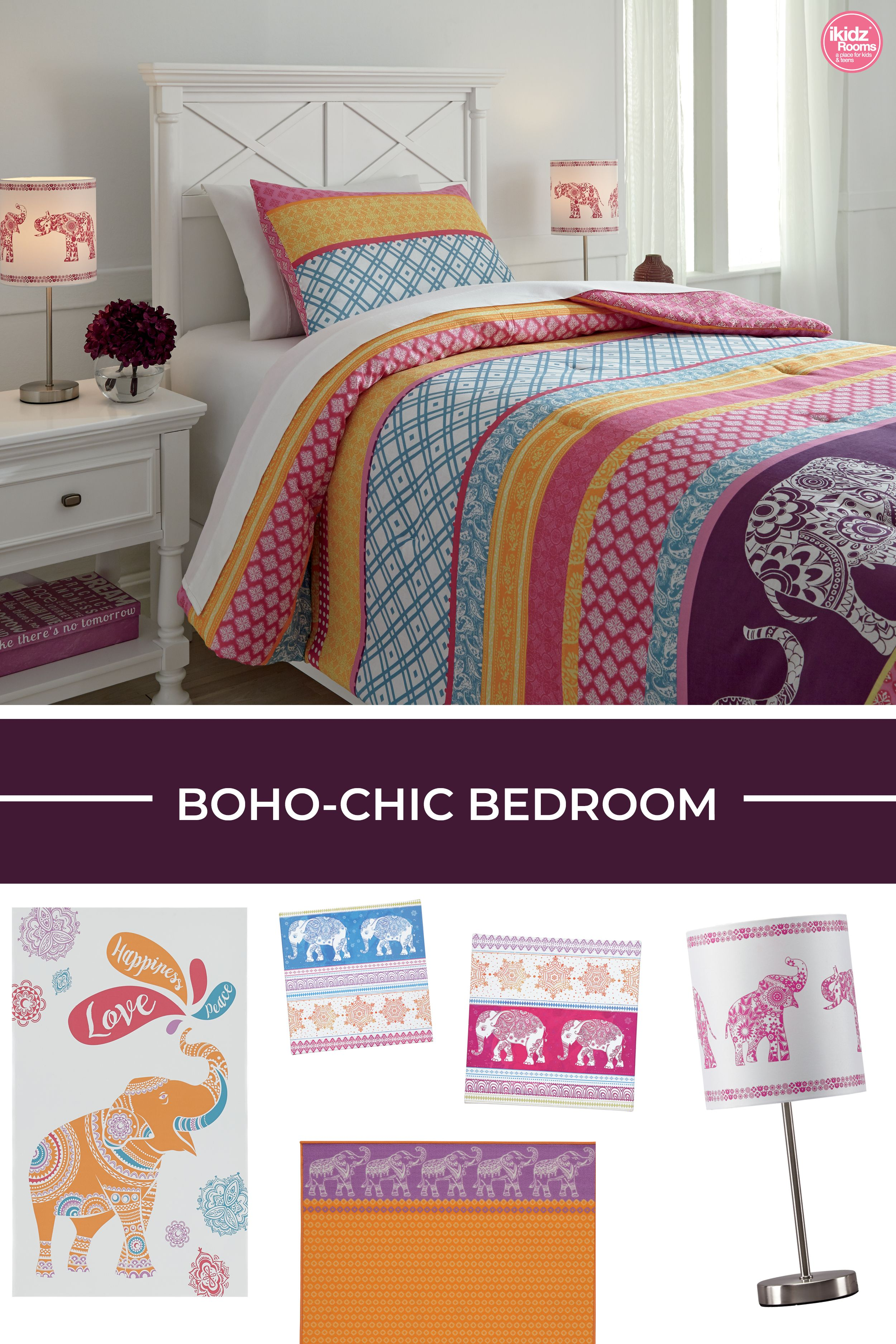 Meghana Pink And Orange Comforter Set By Ashley Furniture Ashleyfurniture Bedroomdecor Bedroomgoals Boho Chic Bedroom Ashley Furniture Orange Comforter
