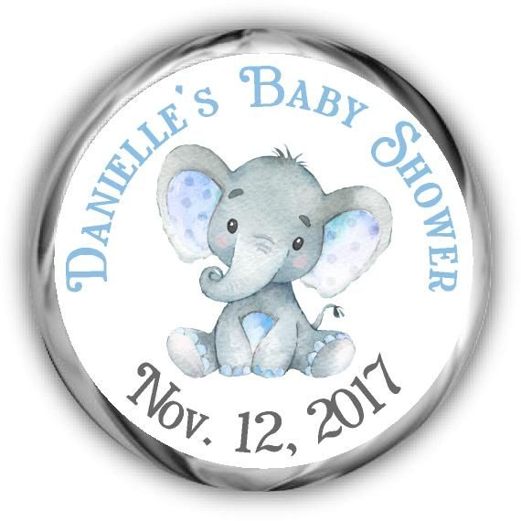 Blue Elephant Personalized Baby Shower Hershey Kisses Stickers ...