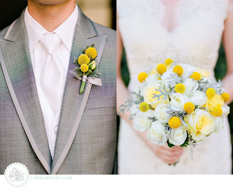Yellow Billy Ball Boutonniere and Bouquet :: Luke and Cat's Blog - Houston Wedding Photographers