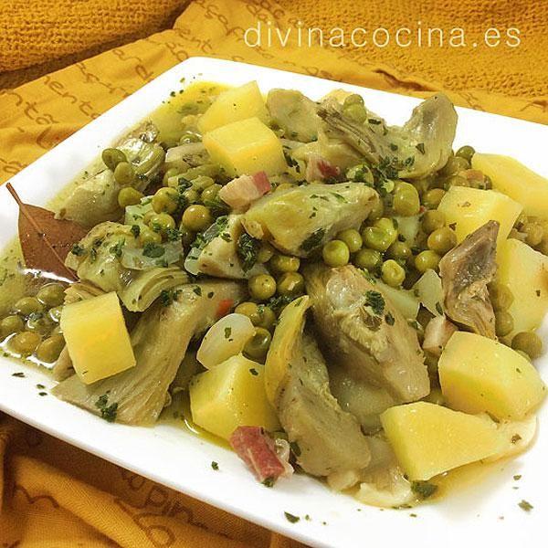 Receta De Alcachofas Con Patatas Y Guisantes Verdura Recetas Alcachofas Recetas Y Recetas Con Patatas