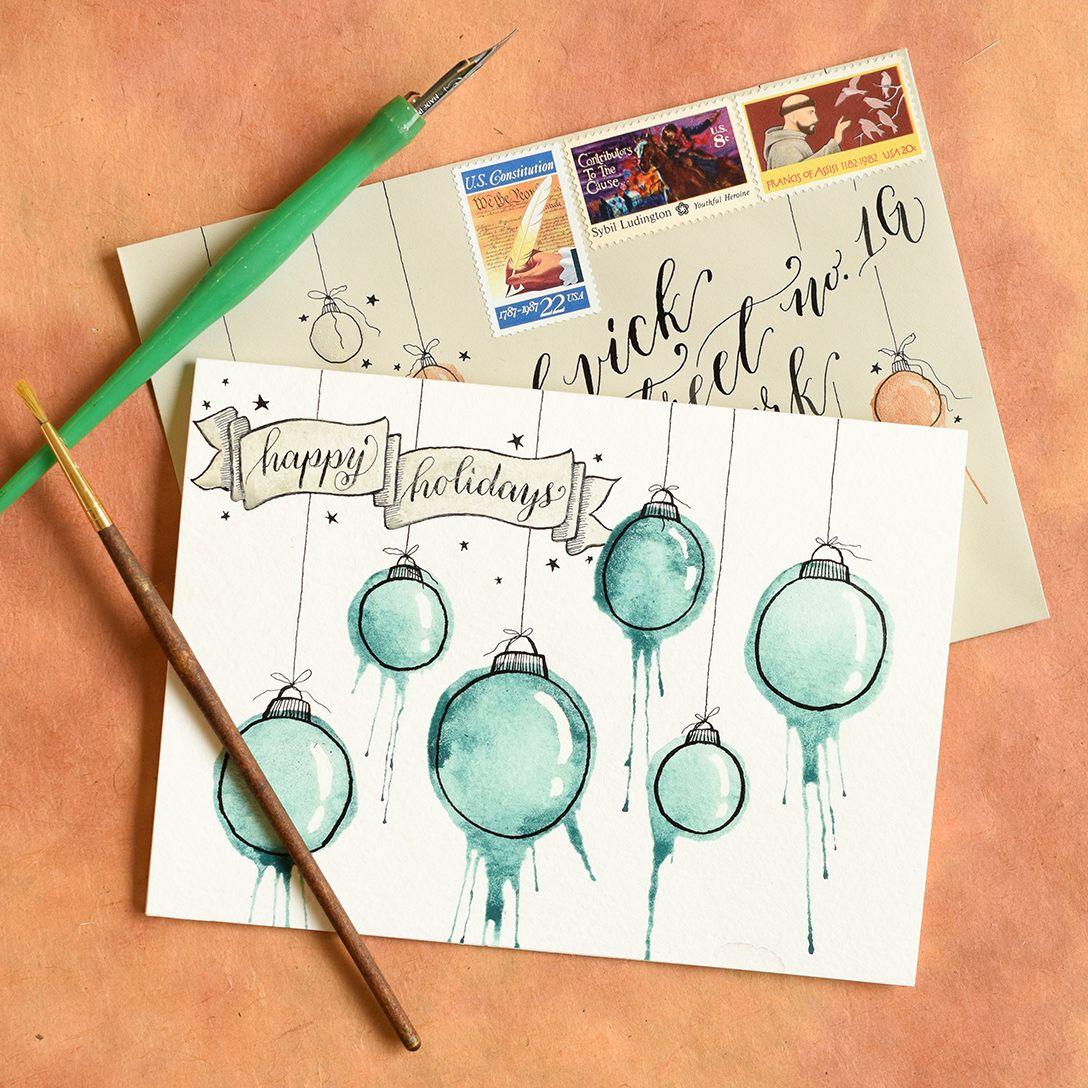 Photo Christmas Card Artistic Ornaments Themed Diy Christmas Card Tutorial Card